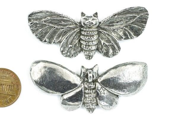 Green Girl Studios Moth Kitty, Pewter, 59x24mm