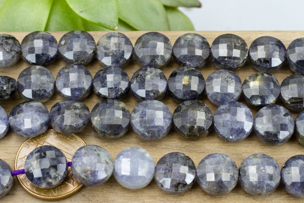 Iolite Faceted Coin, 10mm