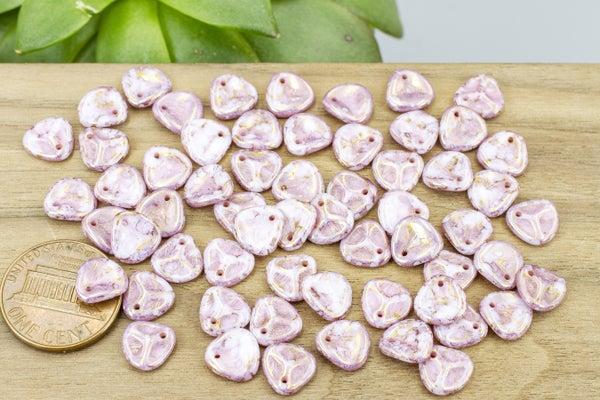 Czech Glass Petal, Mottled Pink Stone, 8mm