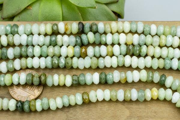 Burma Jade Faceted Rondelle, 7x4mm
