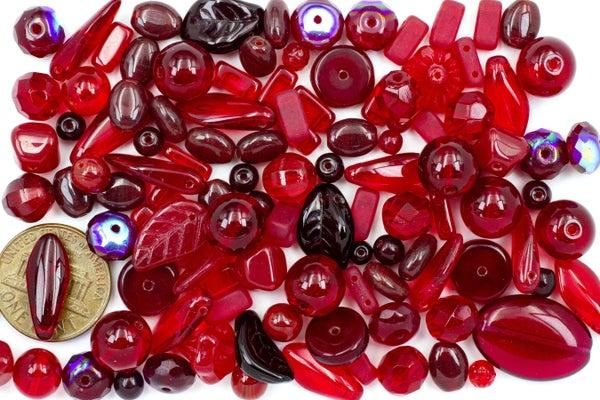 Premium Czech Glass Bead Mix, Deep Red