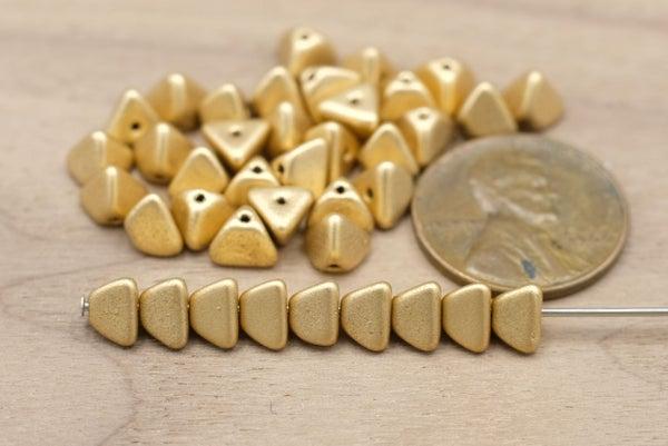 Czech Glass Pyramid, Matte Light Gold, 5x4mm