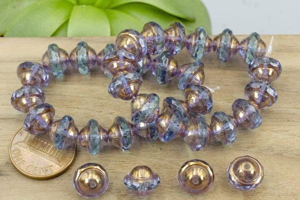 Czech Glass Saturn, Sapphire Bronze, 10x8mm