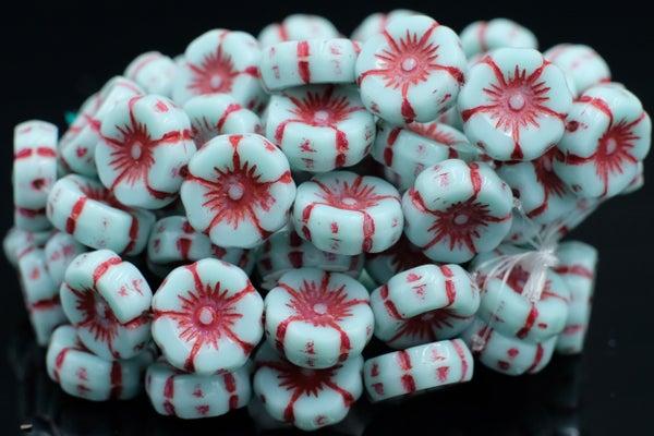 Czech Glass Flowers, Aqua w/ Red Wash, 12mm
