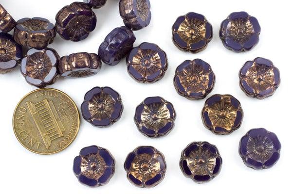 Czech Glass Hibiscus Flower, Purple Bronze, 12mm