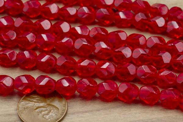 Czech Glass Hex Cut, Red Siam, 8x7mm