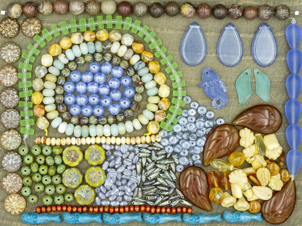 Sam's Bead Box - July 2021: Coastal Bound, 20 Items *Does not include Silver Tone Flower Toggles*