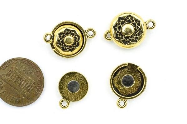 TierraCast Lotus Magnetic Clasp Set, Antiqued Gold Plate, 14mm