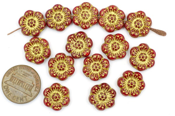 Czech Glass Camellia, Red Gold Wash, 13mm