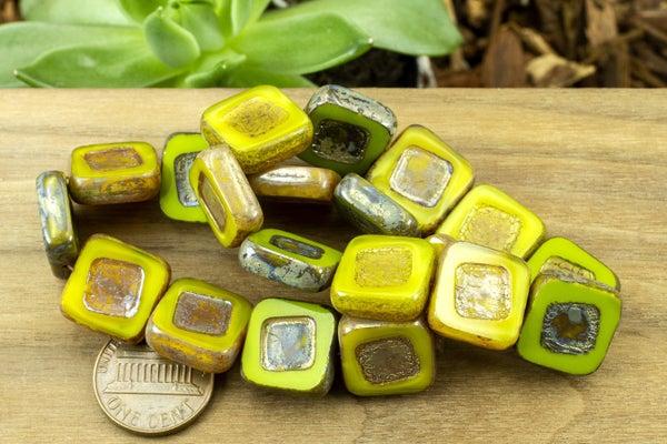 Czech Glass Tablecut Square, Green Mix, 14mm