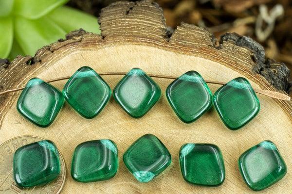 Czech Glass Diamond Brio, Emerald Teal, 12x13mm
