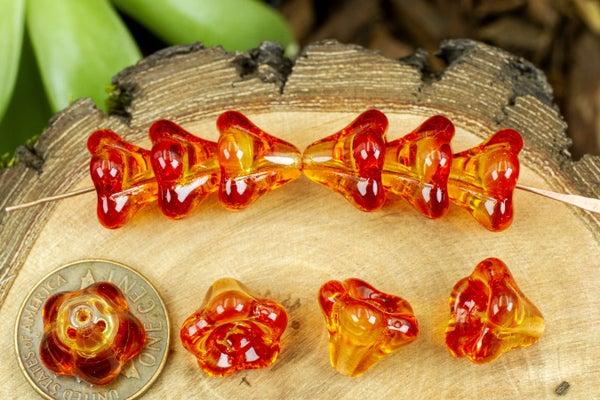Czech Glass Bell Flower, Fire Mix, 11x13mm