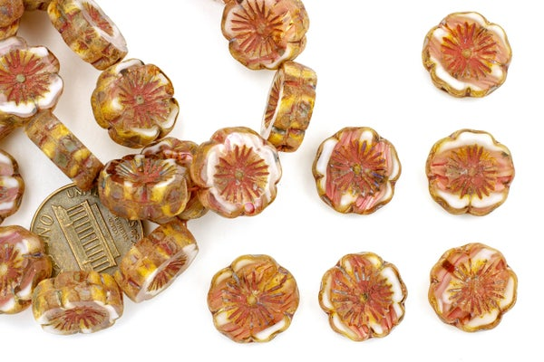 Czech Glass Hibiscus Flower, Peach Parfait, 14mm