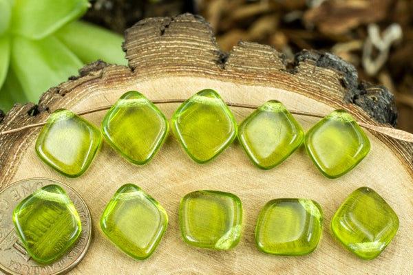 Czech Glass Diamond Brio, Olive Green, 12x13mm