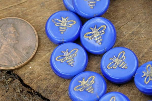 Czech Glass Bee Coin, Royal Blue Gold Wash, 12mm