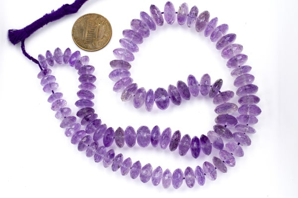 Indian-Cut AA Faceted Amethyst German-cut Rondelle, 8x3-10x7mm