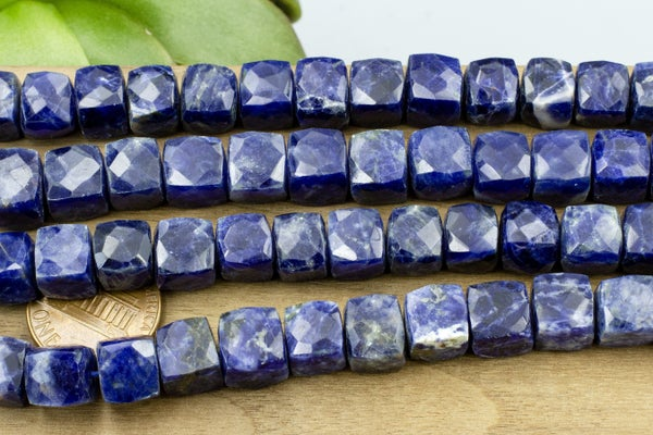 Indian-Cut Faceted Sodalite Cube, ~8mm