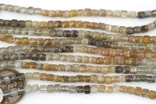 Mixed Moonstone Faceted Cube, 3.5-4mm