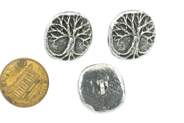 Green Girl Studios Tree Button, Pewter, 19mm