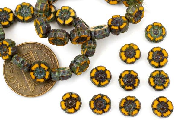 Czech Glass Accent Flower, Sunflower Picasso, 7mm