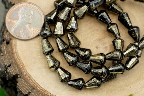 Czech Glass Faceted Drop, Black/Gold, 8x6mm