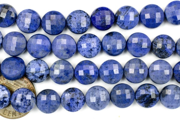 Dumortierite Faceted Coin, 10mm