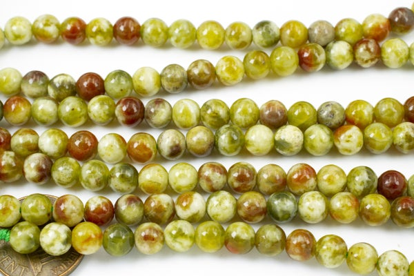 Olive Serpentine Smooth Round, 6mm