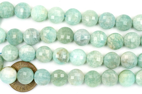 Amazonite Faceted Coin, 10mm