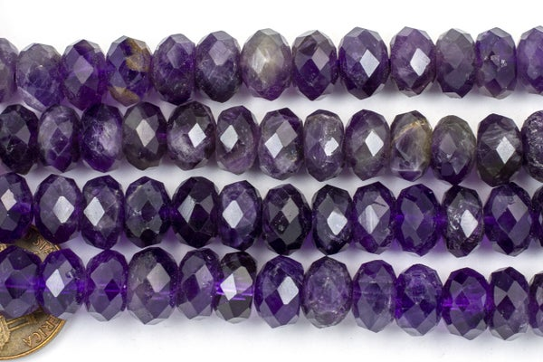 Amethyst Faceted Rondelle, 10x6mm