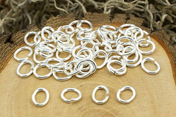 TierraCast Oval Jump Ring, 17 Gauge, Silver Plate, 5x3.5mm Inside