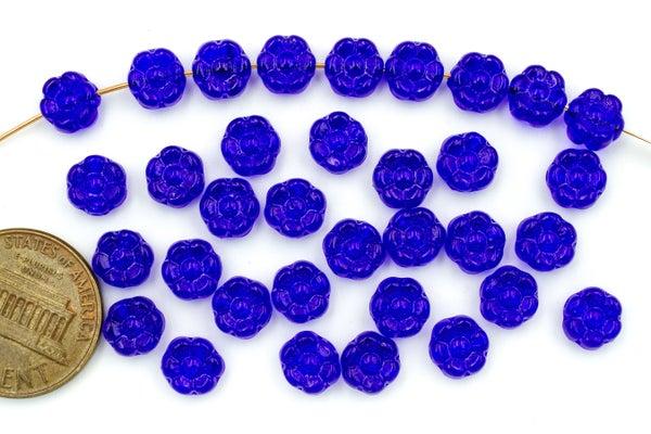 Czech Glass Pressed Flower, Cobalt, 6.5mm
