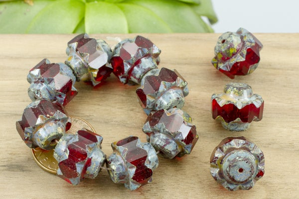 Czech Glass Royal Crown, Ruby Picasso, 13x15mm