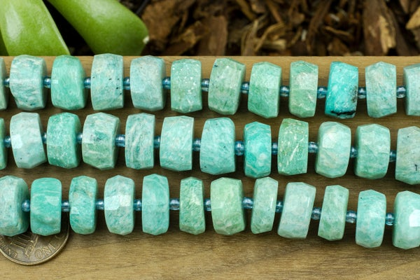 Amazonite Faceted Heishi, 14x6mm