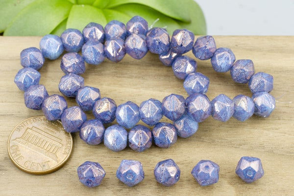 Czech Glass English Cut, Periwinkle Luster, 8mm