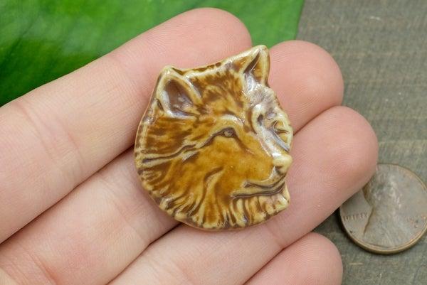 Handmade in Washington State, High-Fired Ceramic Wolf Pendant, Brown Gloss, 30x34mm