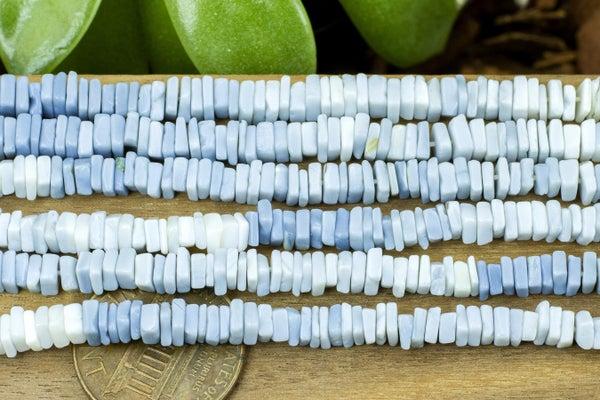 Indian-Cut Blue Opal Square Heishi, ~4mm, Gradient