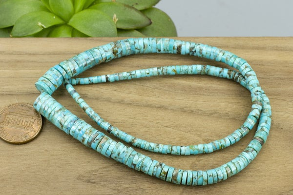 Natural Turquoise Heishi, 3-8x2mm