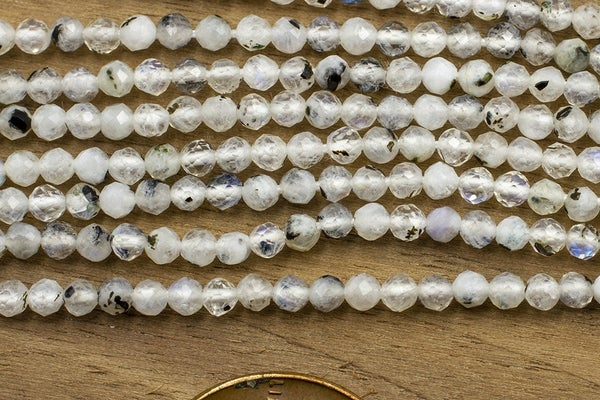 Rainbow Tourmalinated Moonstone Faceted Round, 2.5mm