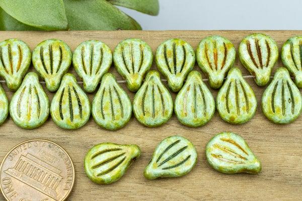 Preciosa Engraved Pip, Alabaster Green Picasso, 14x10mm