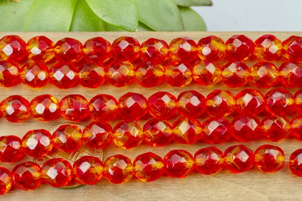 Czech Glass Faceted Round, Red/Orange, 8mm