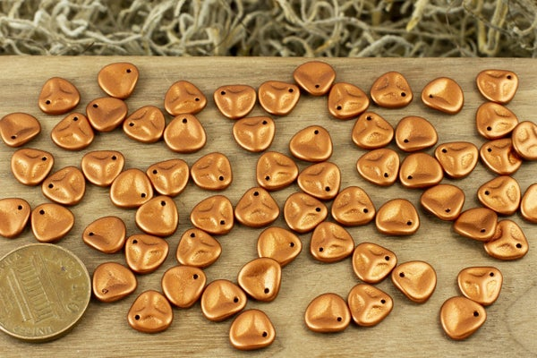 Czech Glass Petal, Matte Copper, 8mm, Please note, this type of coating can be scratched (discounted).
