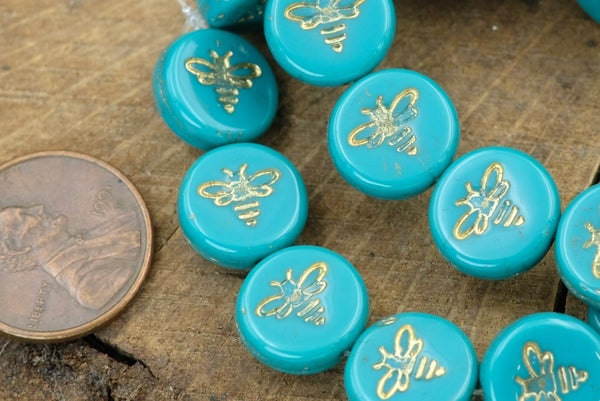 Czech Glass Bee Coin, Turquoise Gold, 12mm