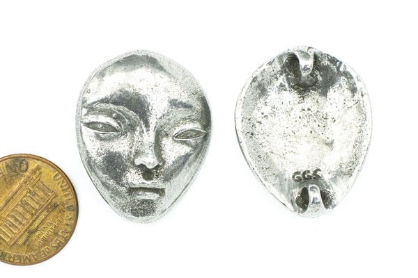 Green Girl Studios Face Connector, Pewter, 23x29mm