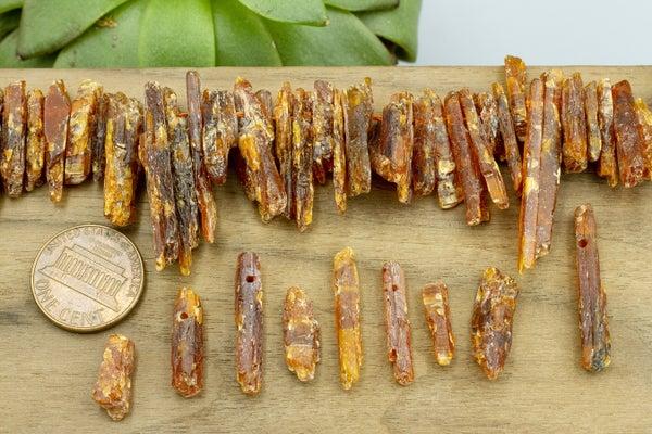 Orange Kyanite Rough Top-drilled Sticks, Larger, Mostly 15-25mm
