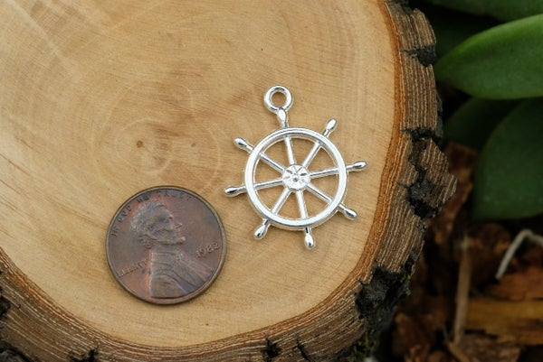 Ship's Wheel Charm, Bright Silver Plate, 27x23mm