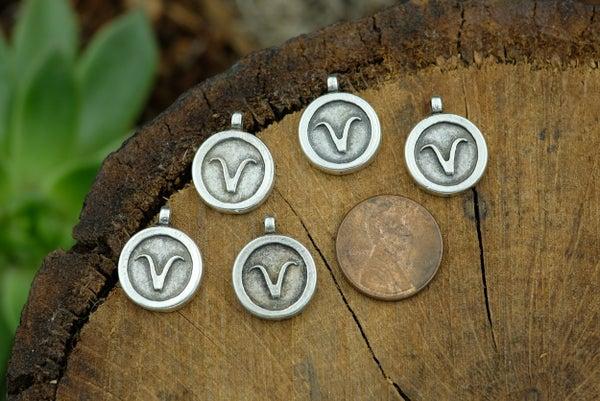 Zodiac Charm, Aries, Antiqued Fine Silver Plate