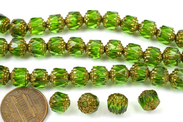 Czech Glass Cathedral, Green Antiqued Gold, 8mm