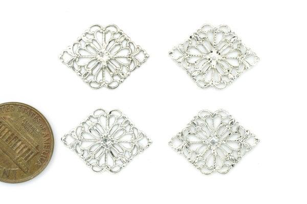 Brass Filigree Diamond, Silver-plate, 21x15mm
