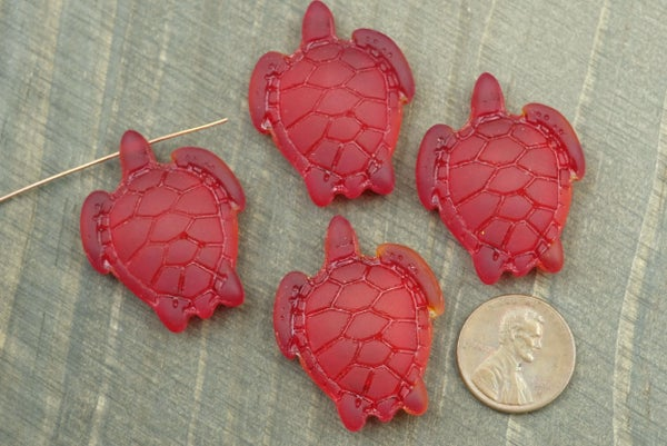 Cultured Sea Glass Turtle Pendant, Drilled through head, Red w/ Hints of Orange, 27x34mm