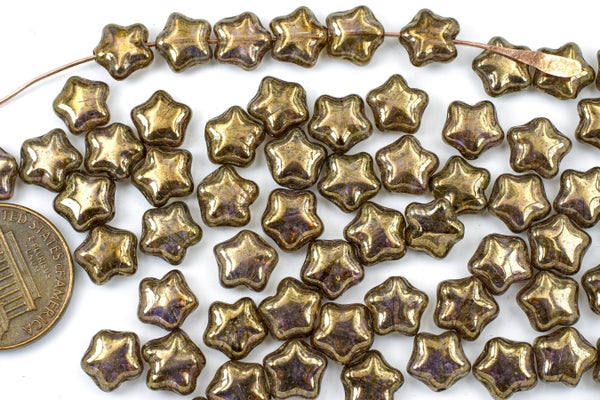 Czech Glass Pressed Star, Bronze Luster, 8mm